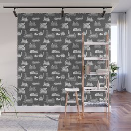 Antique Steam Engines // Charcoal Grey Wall Mural