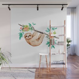 Little Brown Sloth with Flowers Wall Mural
