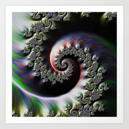 Cool Wet Paint Fractal Swirl of RGB Primary Colors Art Print