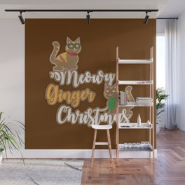 Meowy Ginger Christmas Wall Mural