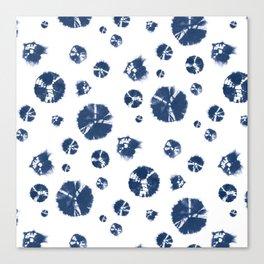 Shibori Polka Splotch Indigo Blue Canvas Print