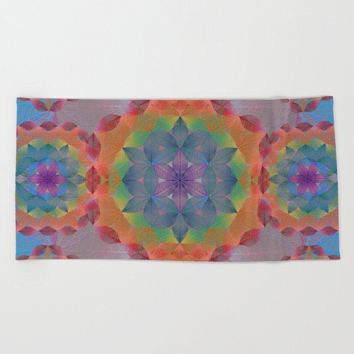 The Flower of Life - Leaf Pattern Beach Towel