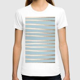 Abstract Drawn Stripes Gold Tropical Ocean Sea Blue T-shirt