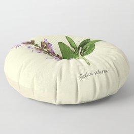 Vintage botanical print - Clary Sage Floor Pillow