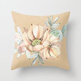 Desert Cactus Flower Apricot Coral Throw Pillow