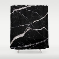 geology Shower Curtains featuring Black Marble by Santo Sagese