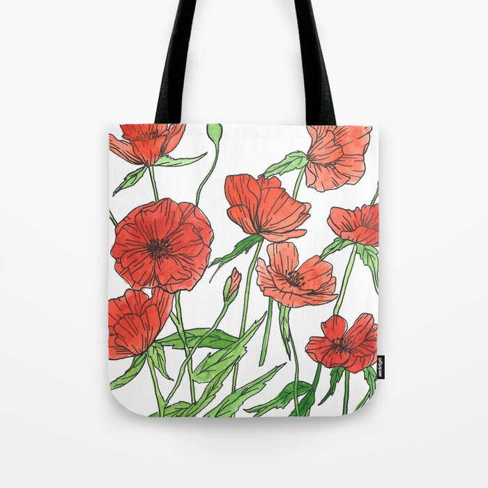 19b88f65001 Red poppy watercolor painting Tote Bag by thehandlettershop | Society6