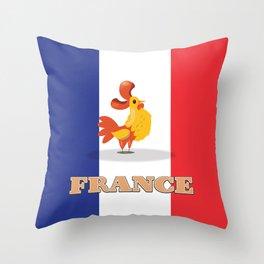France cockerel travel poster Throw Pillow