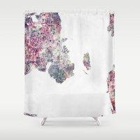 copenhagen Shower Curtains featuring Copenhagen map by MapMapMaps.Watercolors