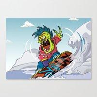 snowboarding Canvas Prints featuring Snowboarding by Brain Drain Fox