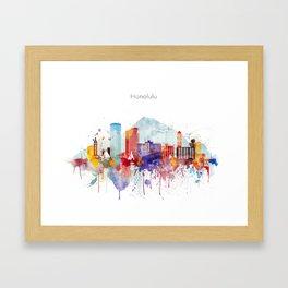 Colorful Honolulu skyline design, Hawaii cityscape Framed Art Print