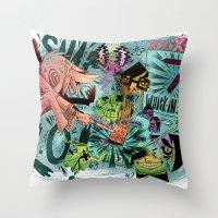 scott pilgrim Throw Pillows featuring Scott Pilgrim, Fan Art by James Burlinson