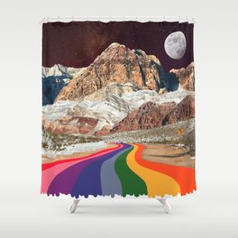 Trippy 1960s Stars and Moon Retro Red Rock Canyon Collage Milky Way Galaxy Colors Shower Curtain