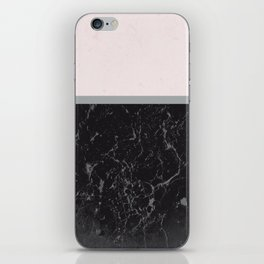 Grey Black Marble Meets Romantic Pink #1 #decor #art #society6 iPhone Skin