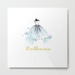 Blue Dress Ballerina Metal Print