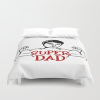 dad Duvet Covers featuring Super dad by Artbox designs