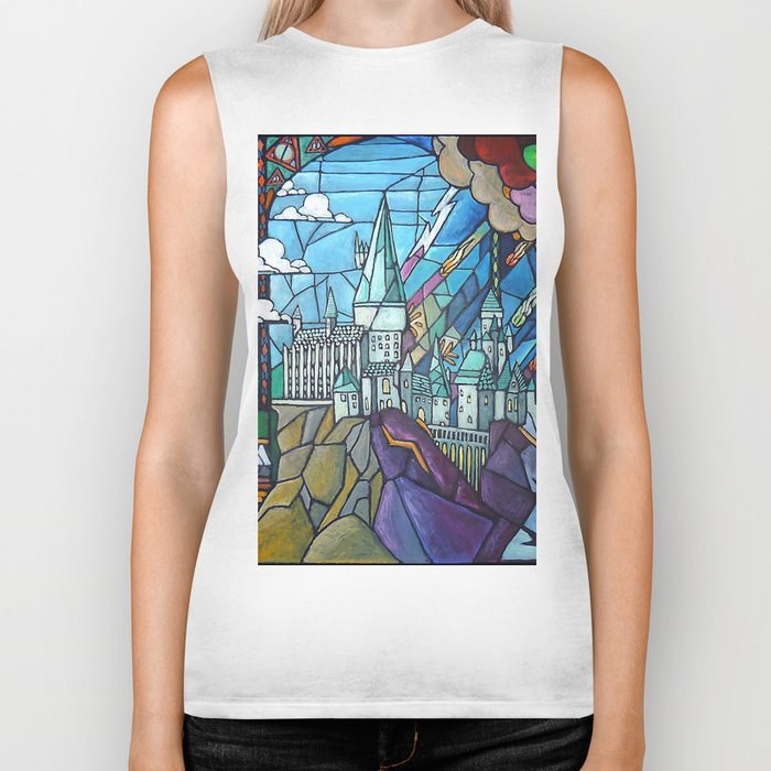 Hogwarts stained glass style Biker Tank