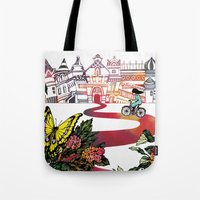 cycling Tote Bags featuring Summer Cycling by Natsuki Otani