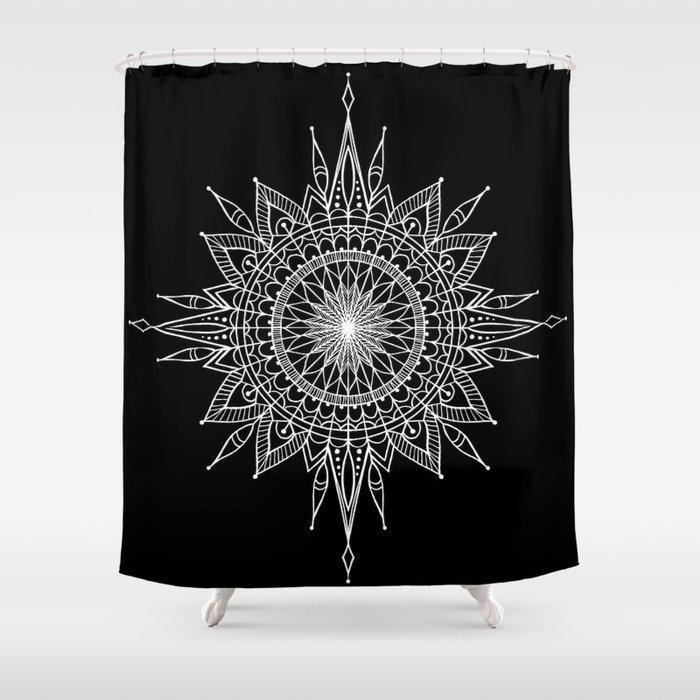 Mandala Star Tattoo Shower Curtain