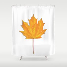 Orange maple leaf Shower Curtain