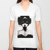 la V-neck T-shirts featuring La veuve affamee by Ludovic Jacqz