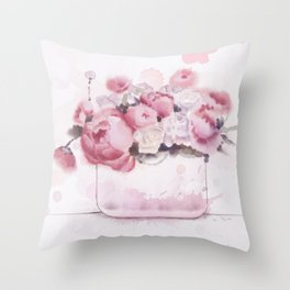 The tender touch of peonies Throw Pillow