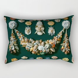 "Jan van Kessel de Oude ""Festoon, masks and rosettes made of shells"" Rectangular Pillow"