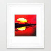 duvet cover Framed Art Prints featuring Sunset duvet cover by customgift