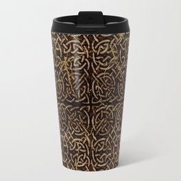 Celtic Wood Pattern with Gold Accents Travel Mug
