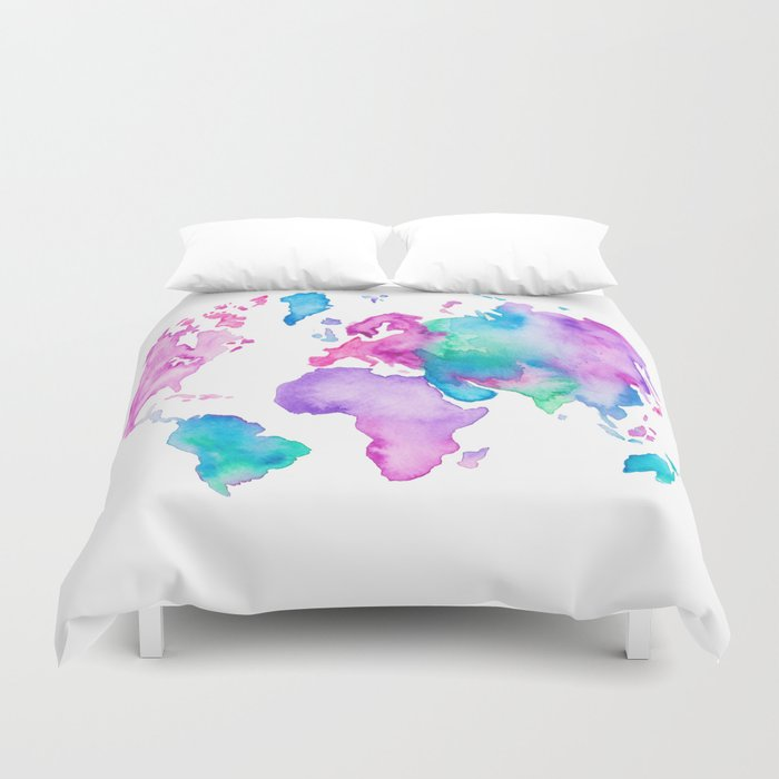 Modern world map globe bright watercolor paint Duvet Cover by ...