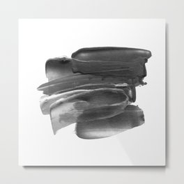 Lipstick Smudge black and white abstract painting poster design home wall art bedroom decor Metal Print
