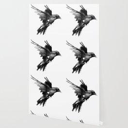 Flying Raven. tribal raven lover black and white raven decor Wallpaper
