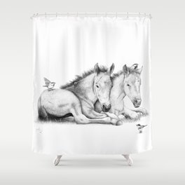 Twin Foals Shower Curtain