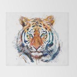 Tiger Head watercolor Throw Blanket