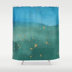 Gold on green and blue Shower Curtain