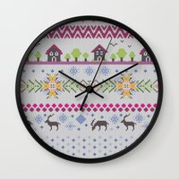 knitting Wall Clocks featuring Winter Knitting by Ornaart