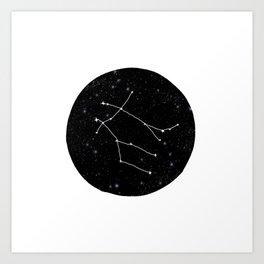 Gemini zodiac constellations astrology star gazer black and white minimalist Art Print