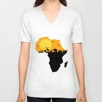 south africa V-neck T-shirts featuring Africa by Emir Simsek