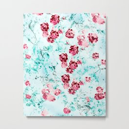 Floral Dream, Surrealism Nature Botanical Graphic Design, Digital Art Rose Metal Print