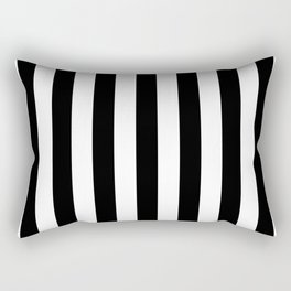 Solid Black and White Wide Vertical Cabana Tent Stripe Rectangular Pillow