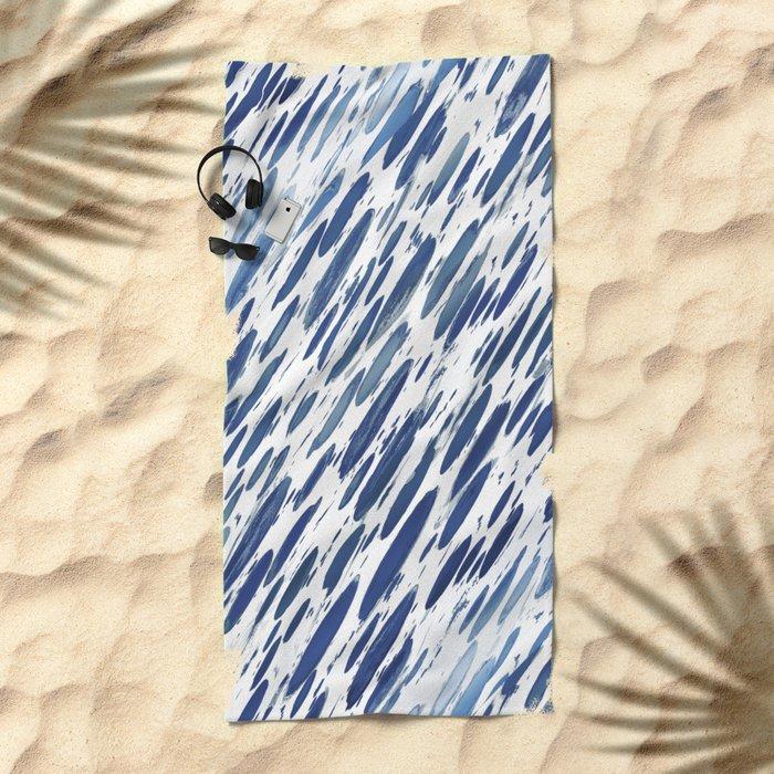Boho Blue Brushstroke Beach Towel