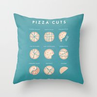 pizza Throw Pillows featuring Pizza by Travel Poster Co.