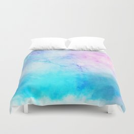 Turquoise Pink Watercolor Texture Duvet Cover