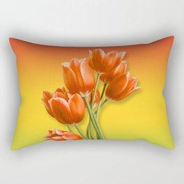 Orange Tulips & Warm Gradient Rectangular Pillow