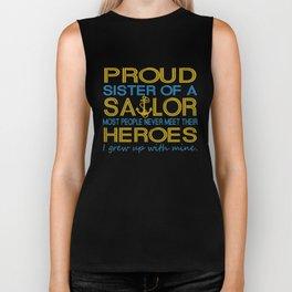Proud sister of a sailor Biker Tank