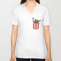 pocket V-neck T-shirts featuring Pocket Circus by Sachpica