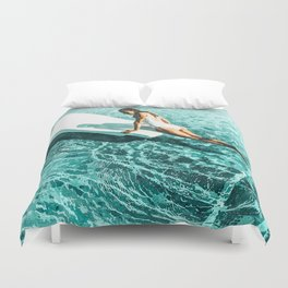 Pool Day #society6 #painting #summer Duvet Cover