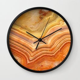 Orange Ripple Mineral Surface Wall Clock