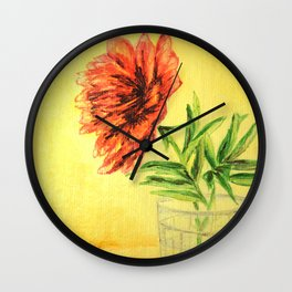 flower in a glass . illustration . art Wall Clock