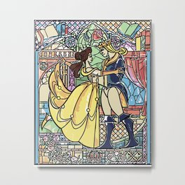 Stain glass Window Belle and the Prince Metal Print